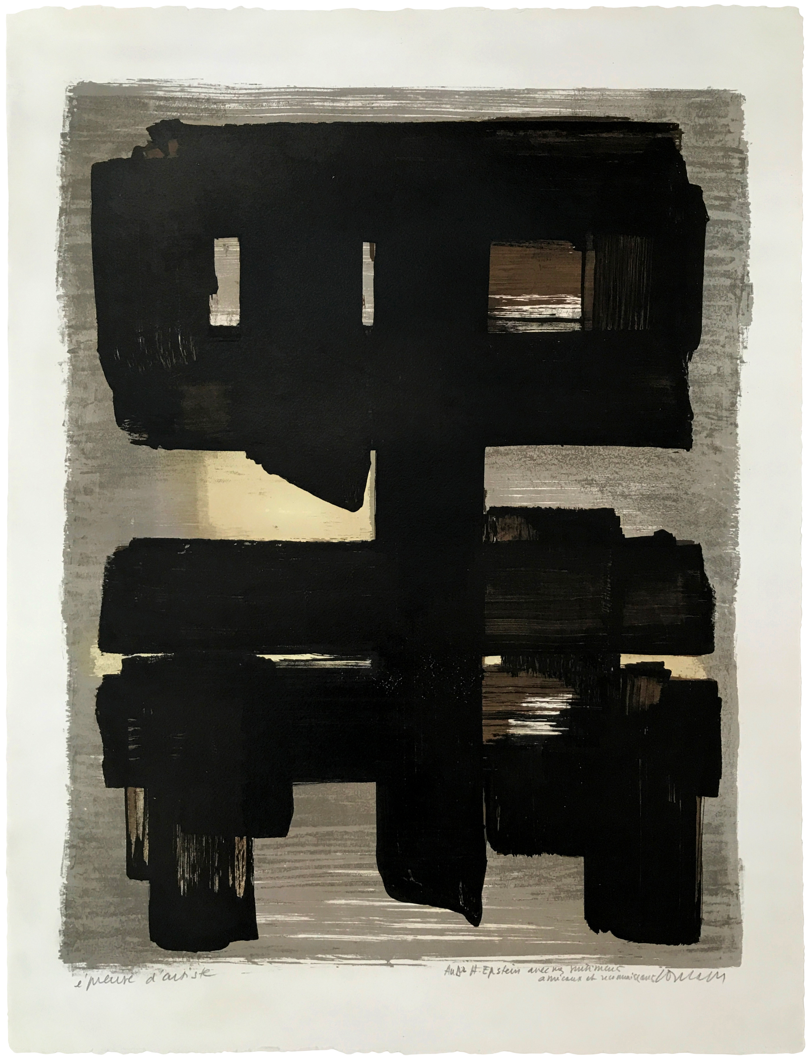 Pierre Soulages Lithographie no 1 original print in colours for sale