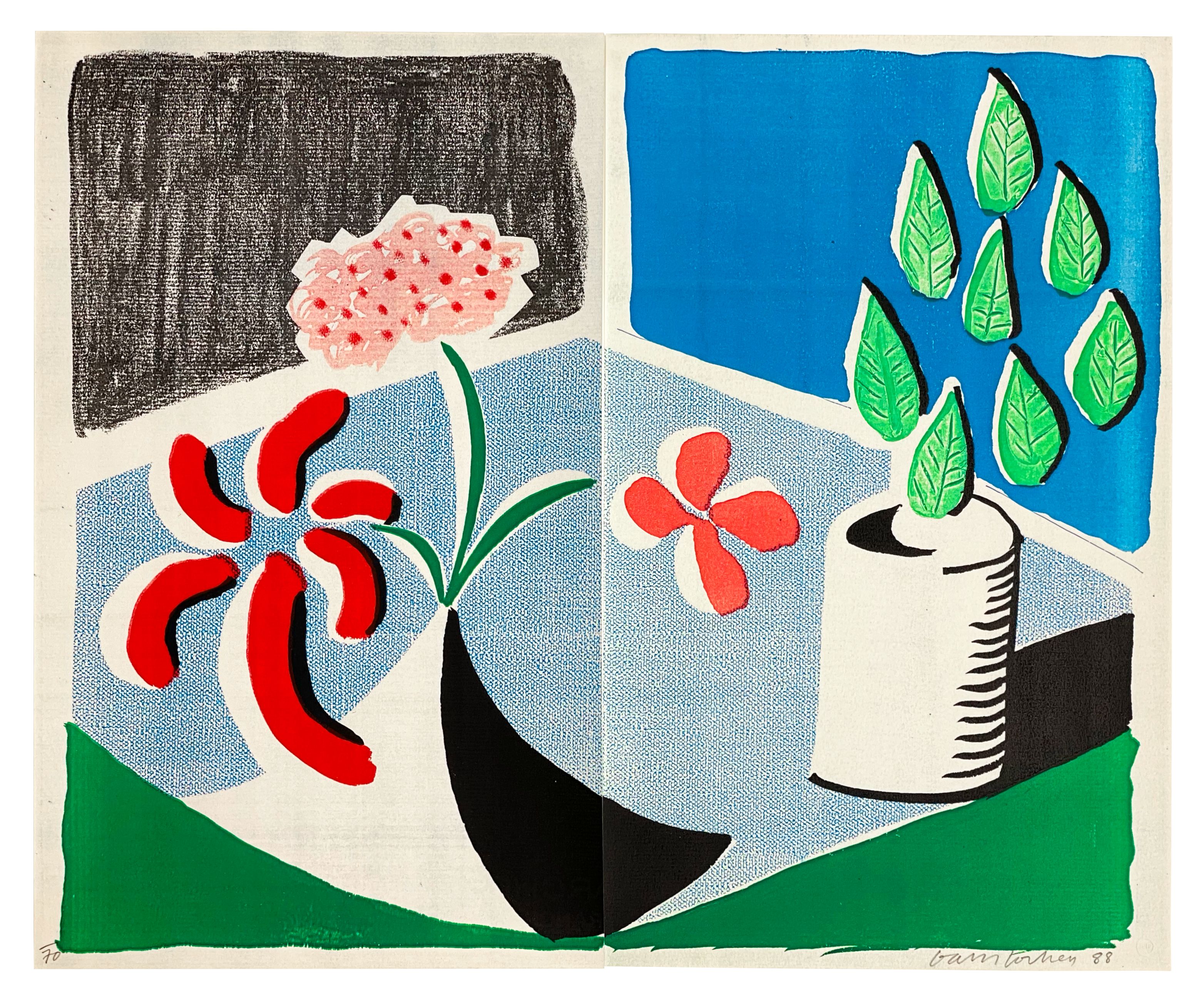 A21 12 HOCKNEY Red Flowers unnumbered