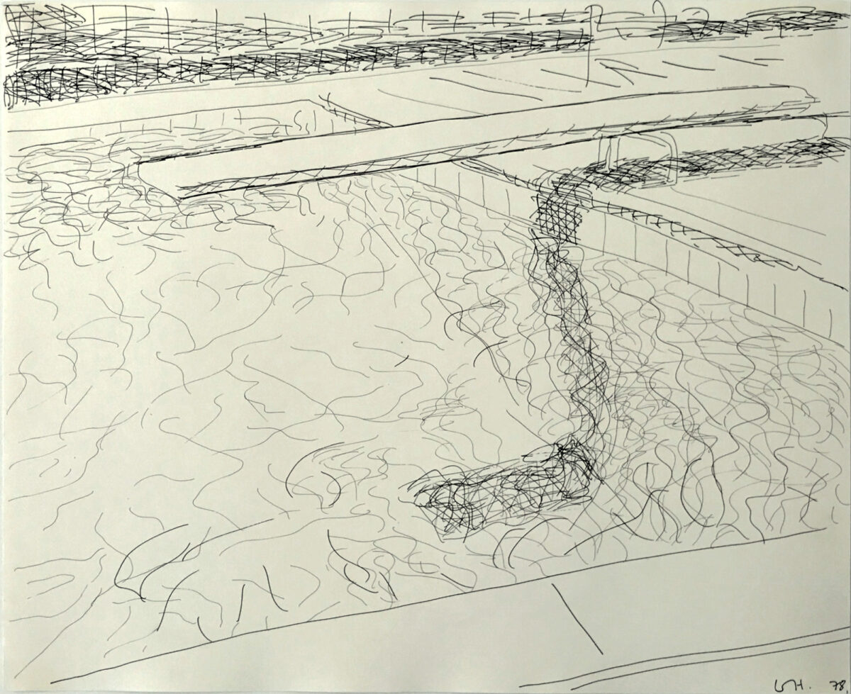 David Kockney Pool Drawing (diving board on right) original black and white print for sale