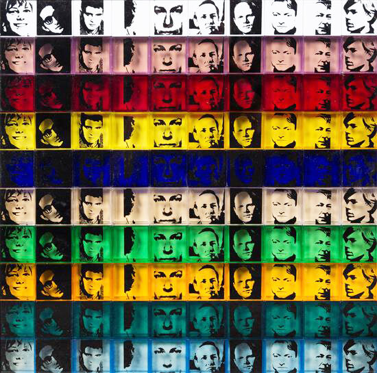 Andy Warhol Portraits of the Artists One hundred screenprinted polystyrene boxes in ten colours