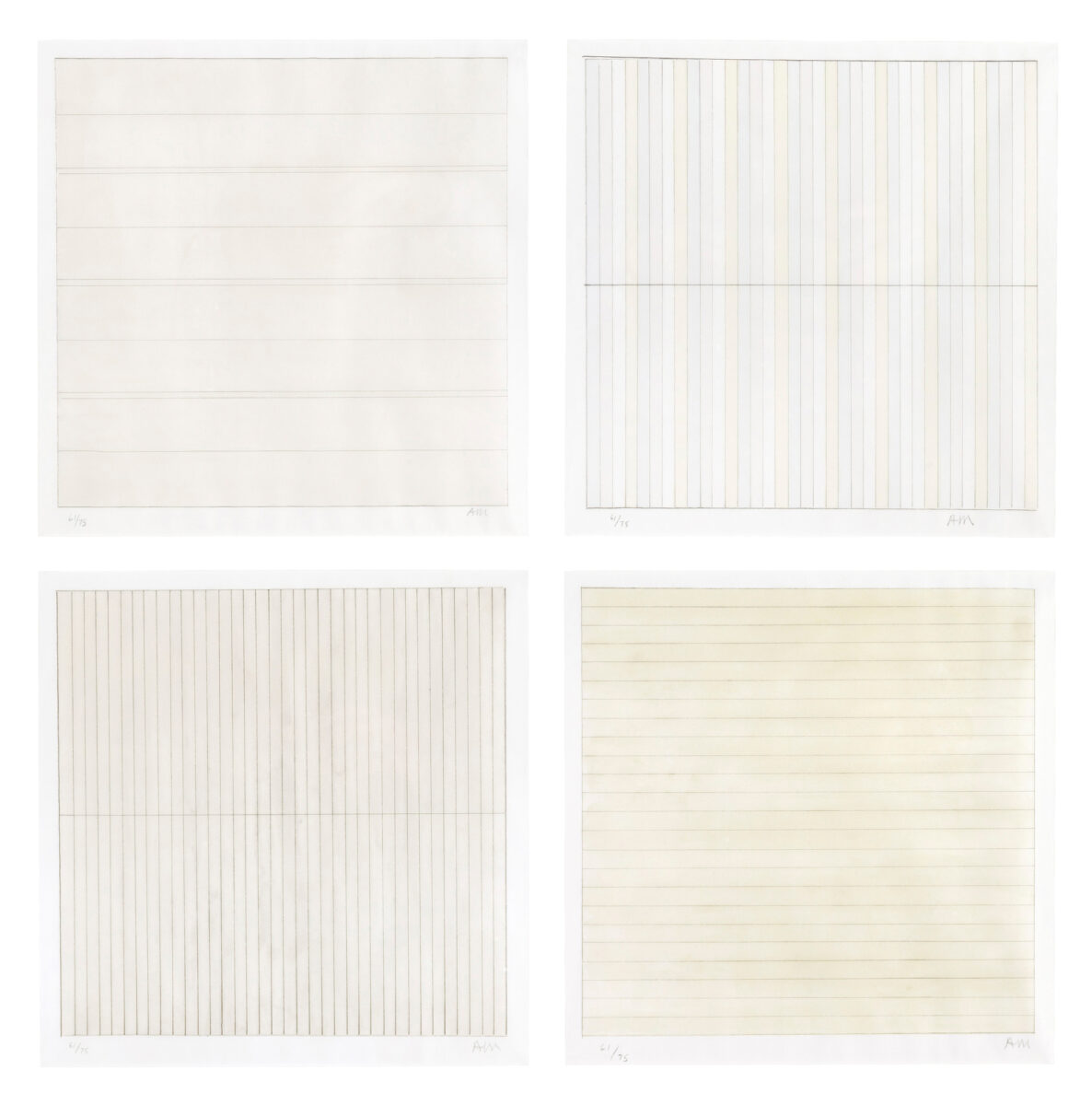 Agnes Martin Untitled the complete set of four lithographs in colours signed and dated by the artist