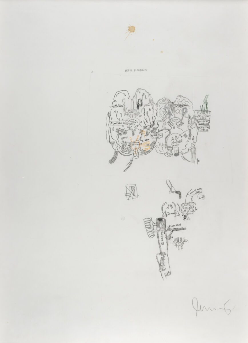 Jean-Michel Basquiat Main Platform original signed graphite drawing with silver pencil and yellow crayon signed by the aritst