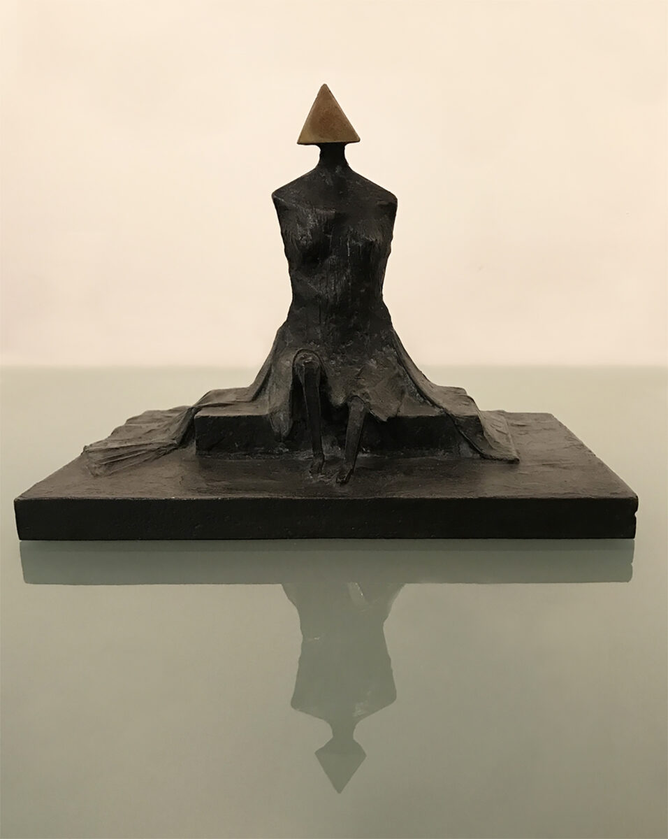 Lynn Chadwick Sitting Woman in Robes II bronze sculpture