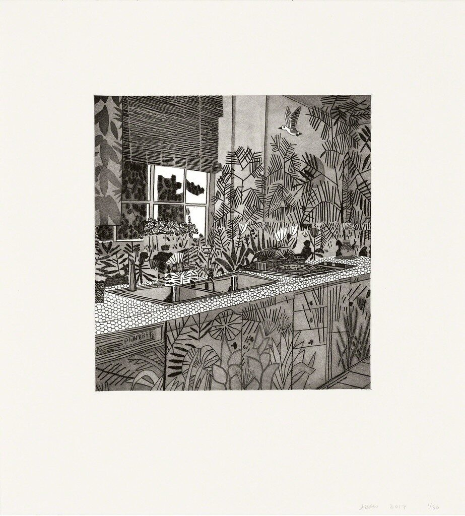 Jonas Wood Jungle Kitchen original signed etching and aquatint print for sale