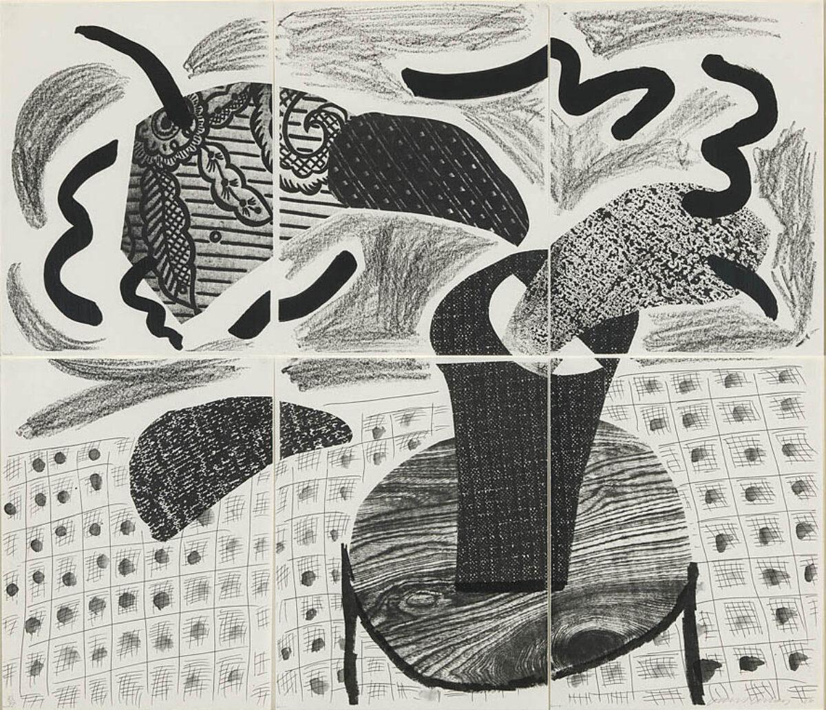 David Hockney Black Plant on Table, original home made print for sale
