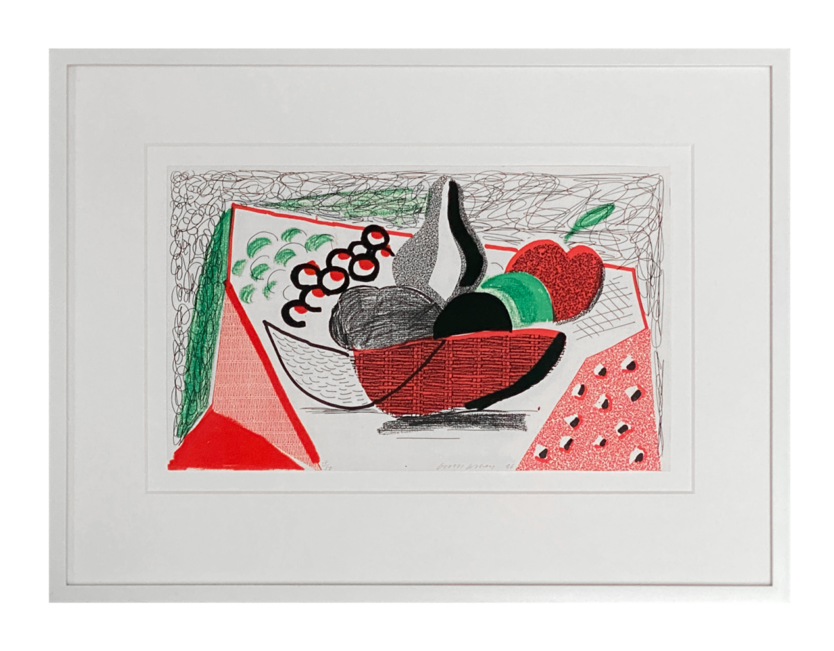 David Hockney Apples Pears and Grapes, framed original home made print for sale