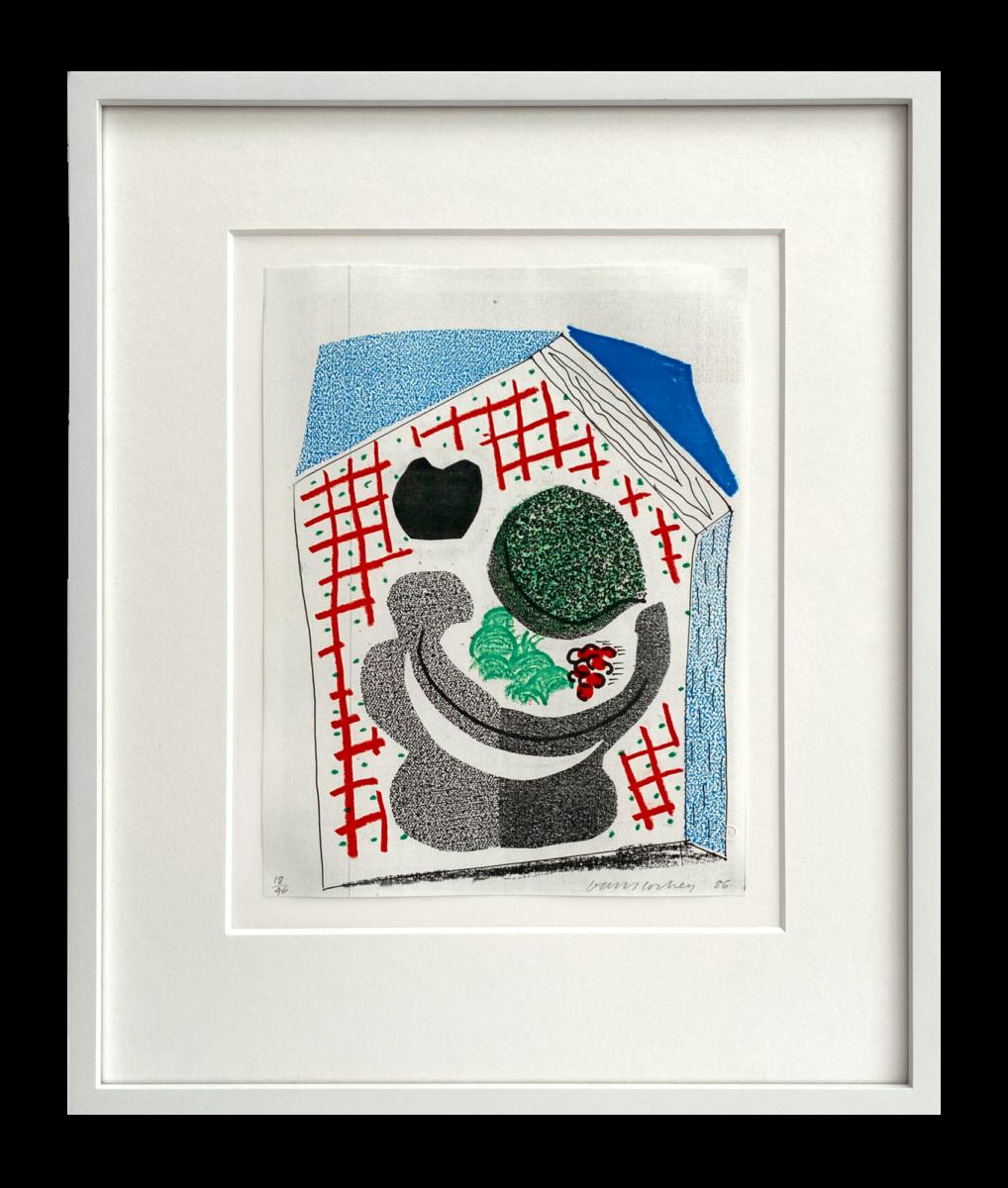 David Hockney Bowl of Fruit, framed original home made print for sale