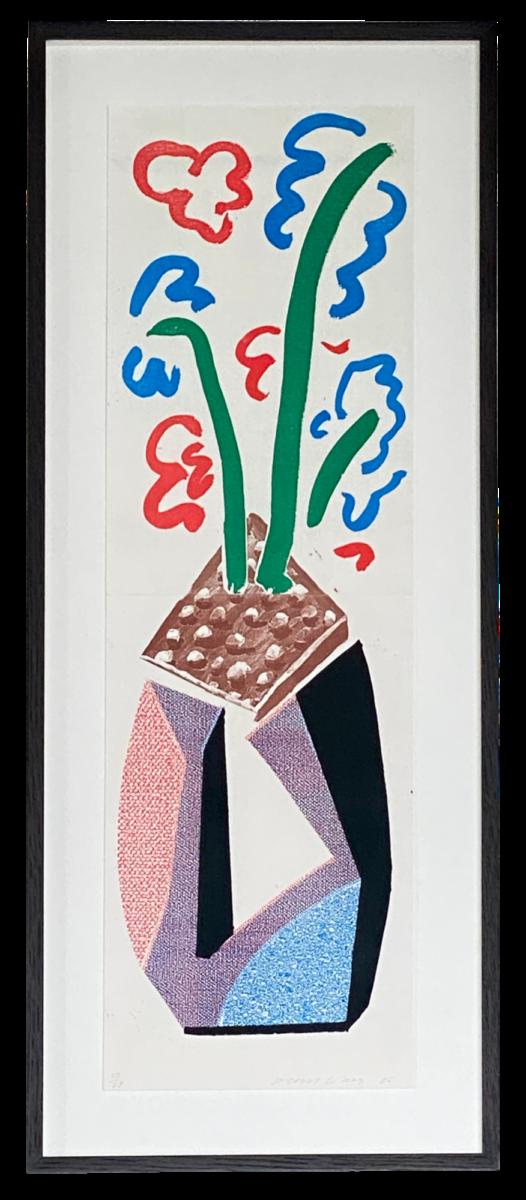 David Hockney Red Blue & Green Flowers, framed original home made print for sale