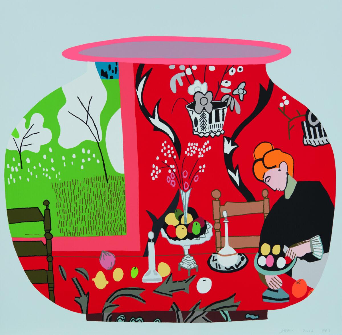 Jonas Wood Matisse Pot 2 original signed colour screenprint for sale