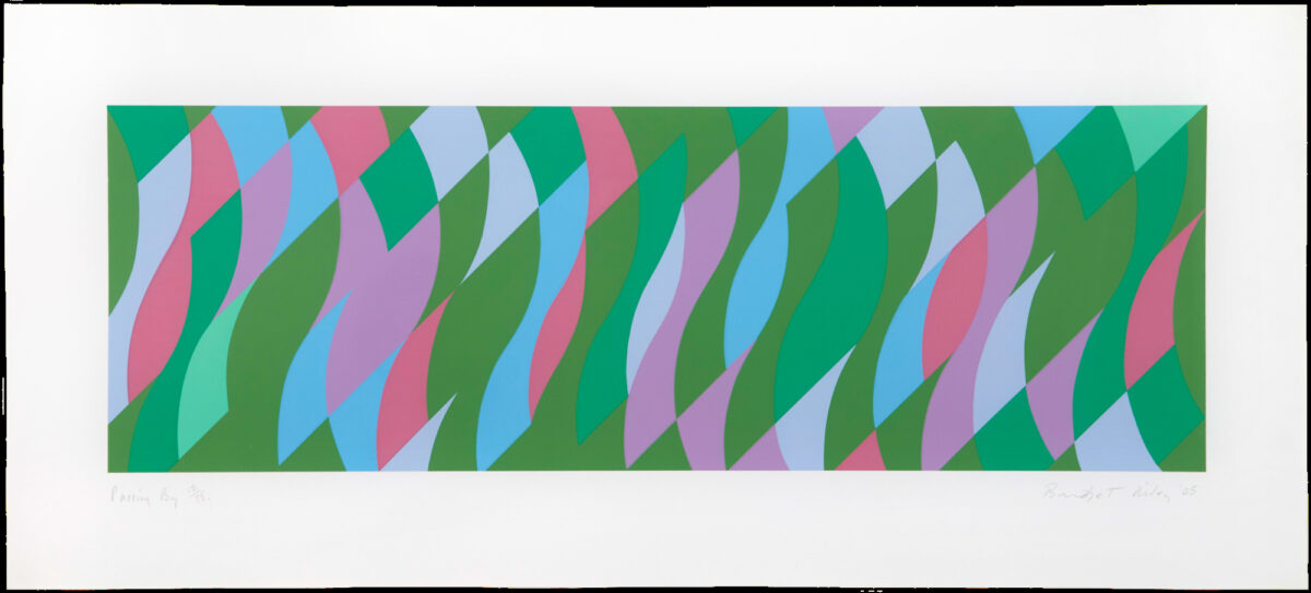 Bridget Riley Passing By, original framed screenprint in seven colours for sale