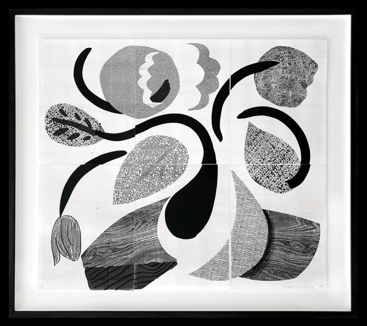 David Hockney Dancing Flowers, framed original home made print for sale