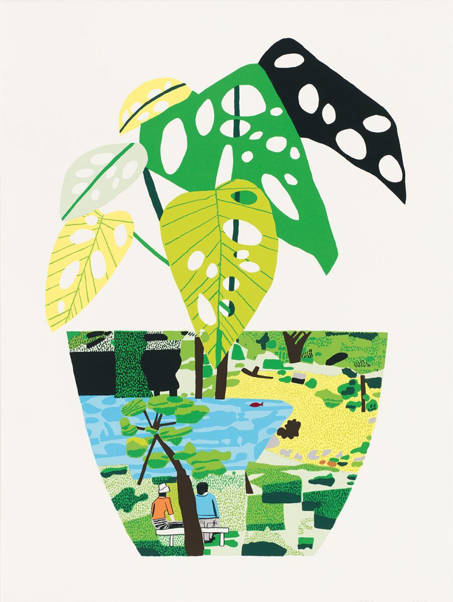 Jonas Wood Landscape Pot with Plant original signed colour screenprint for sale