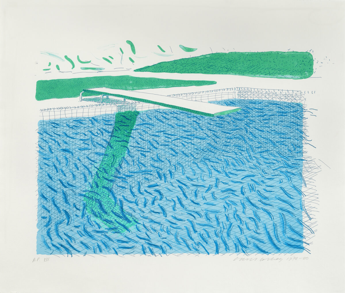 David Hockney Lithographic Water Made of Lines, Crayon, and a Blue Wash, original lithograph for sale
