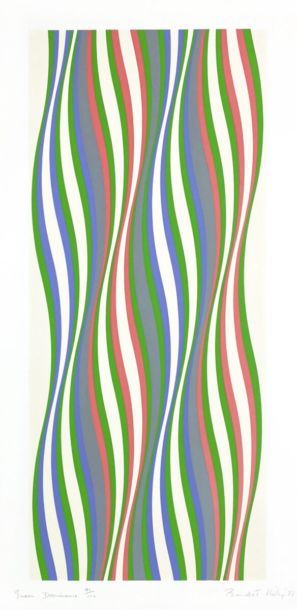 RILEY Green Dominance limited edition screenprint in colours 1977