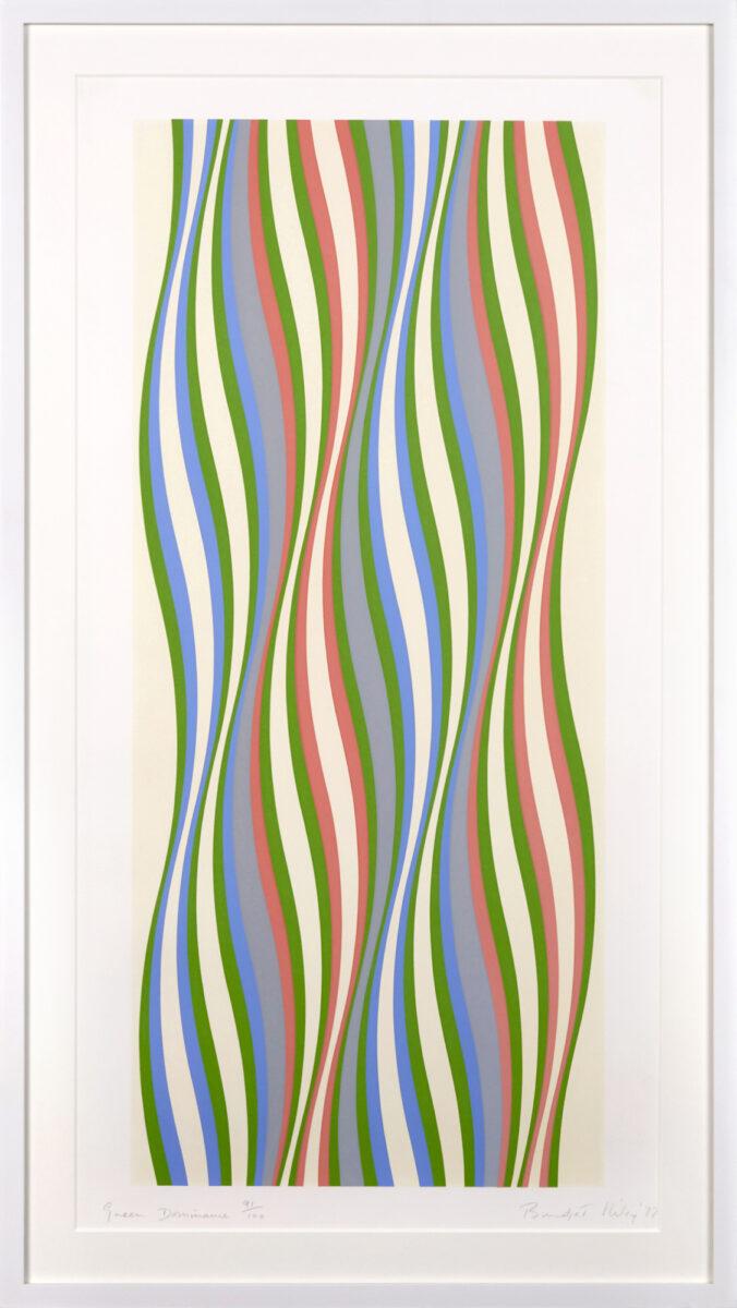Bridget Riley Green Dominance, original framed screenprint in five colours for sale