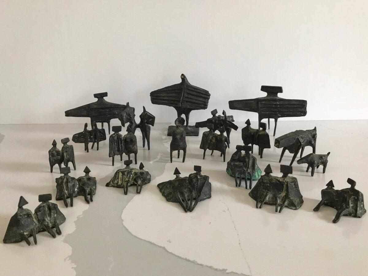 Lynn Chadwick Group of Twenty Miniature Figures in bronze stamped with signature numbered and dated for sale