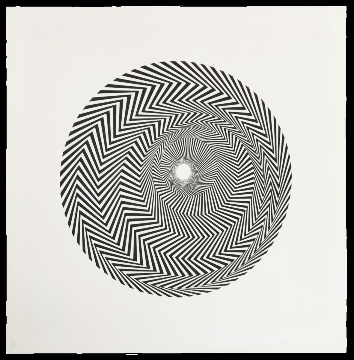Bridget Riley Untitled [based on Blaze] original black and white screenprint for sale