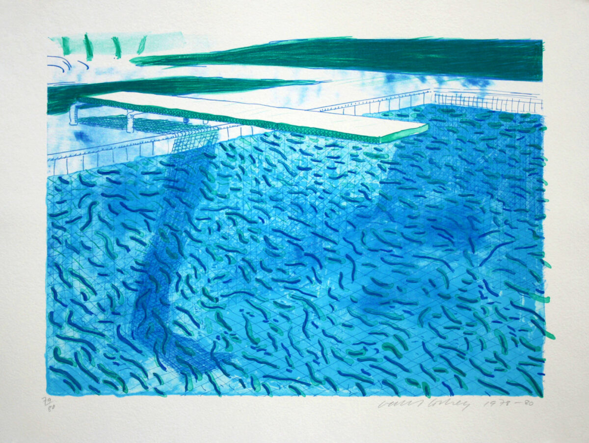 David Hockney Lithograph of Water Made of Thick and Thin Lines, a Green Wash, a Light Blue Wash, and a Dark Blue Wash, original lithograph for sale
