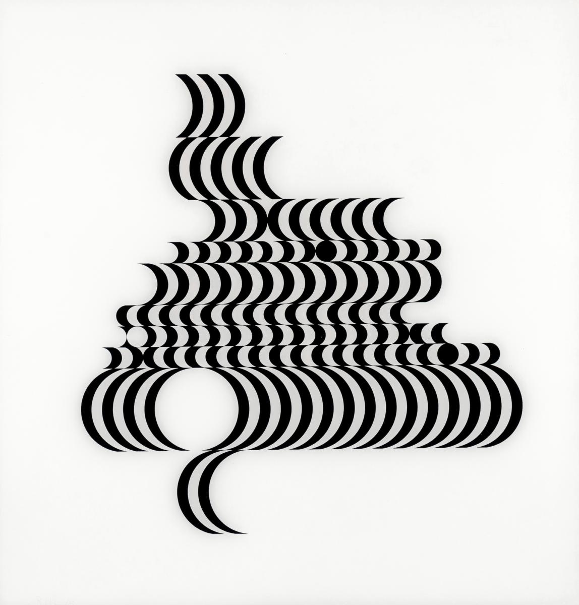 Bridget Riley Untitled [Fragment 2] black and white screenprint on plexiglas for sale