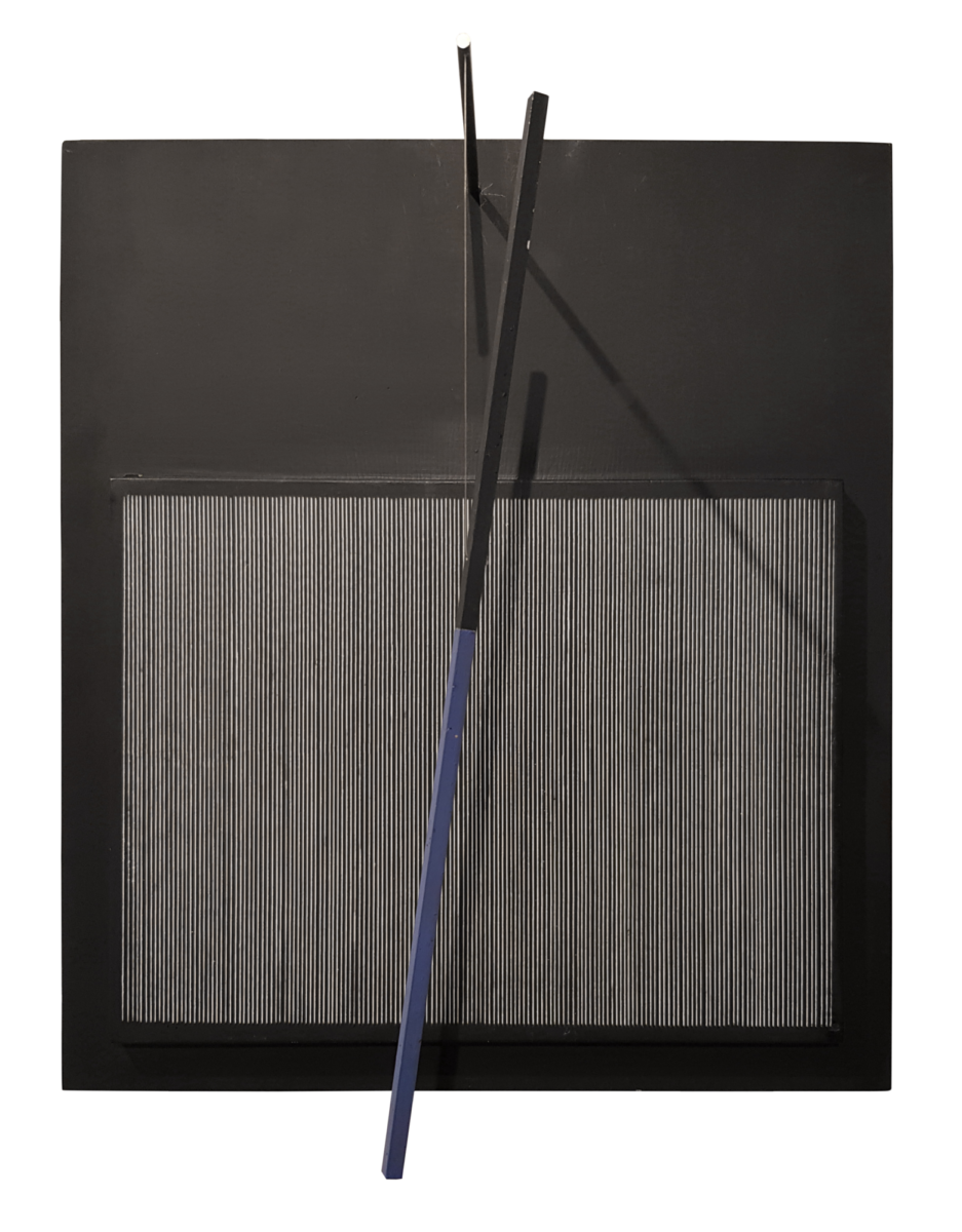 Jesús Rafael Soto Incliné bleu et noir limited edition kinetic sculpture for sale