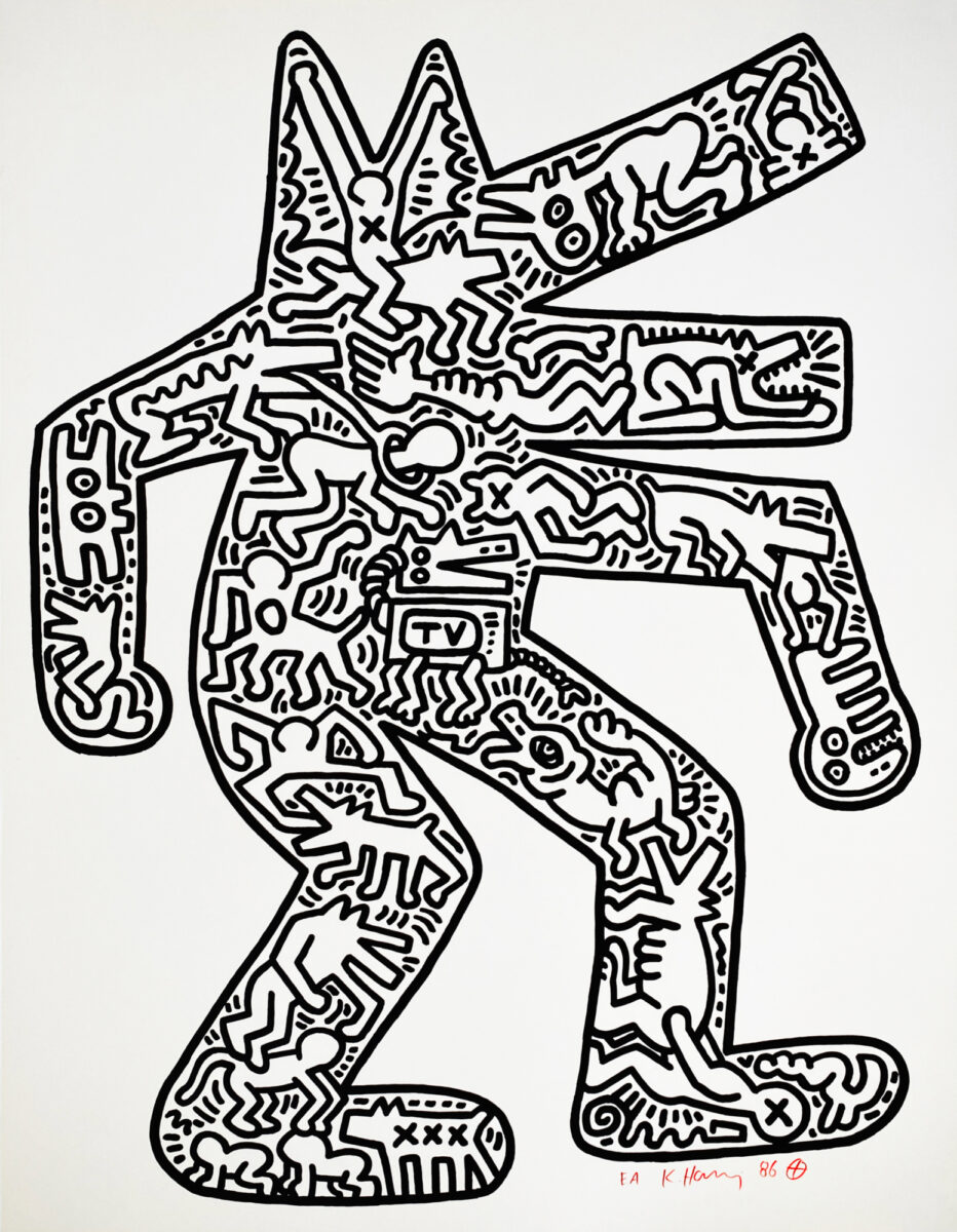 Keith Haring Dog original lithograph on BFK Rives paper signed dated and annotated by the artist