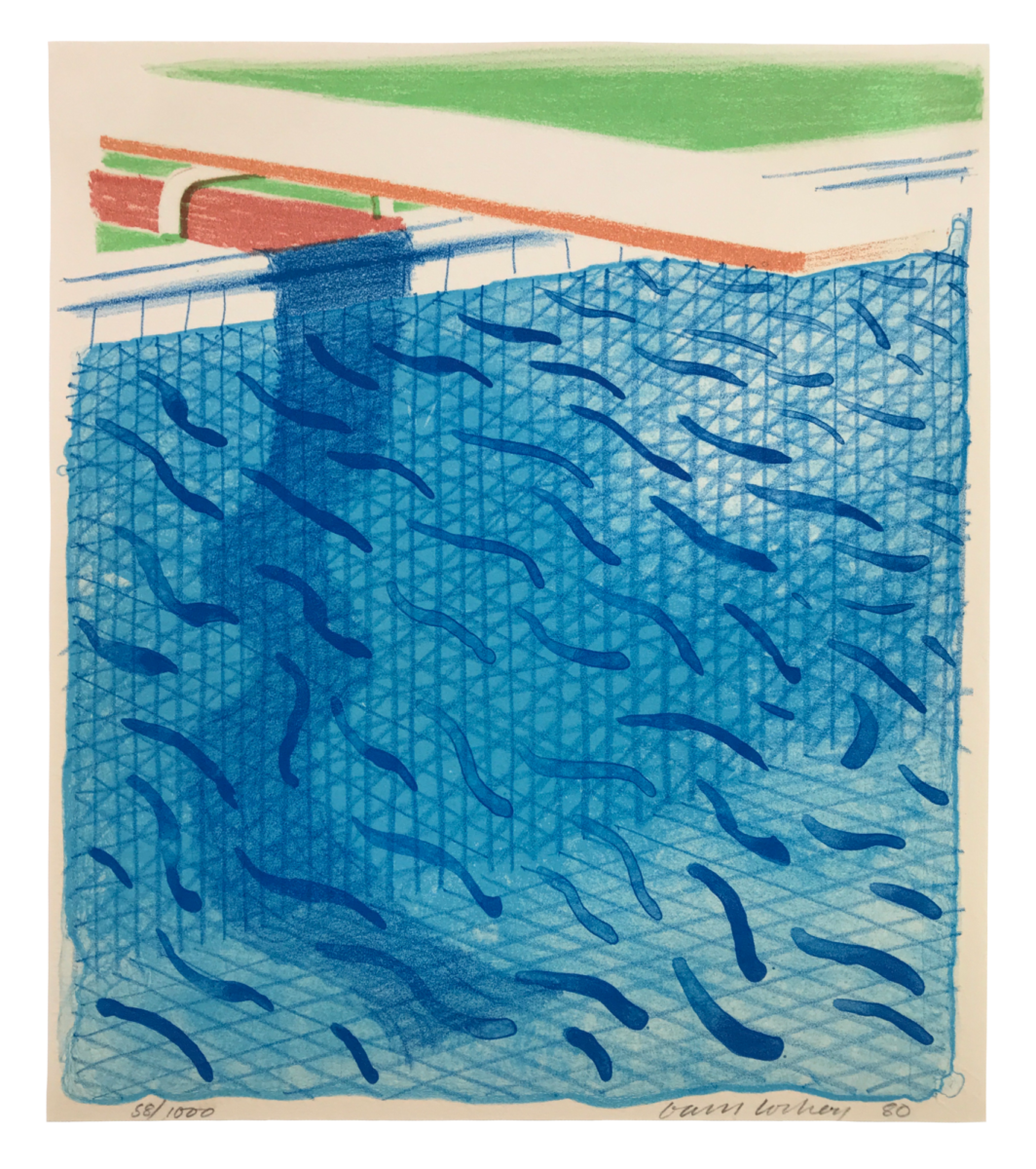 ADavid Hockney Pool Made With Paper and Blue Ink for Book original lithographic print for sale