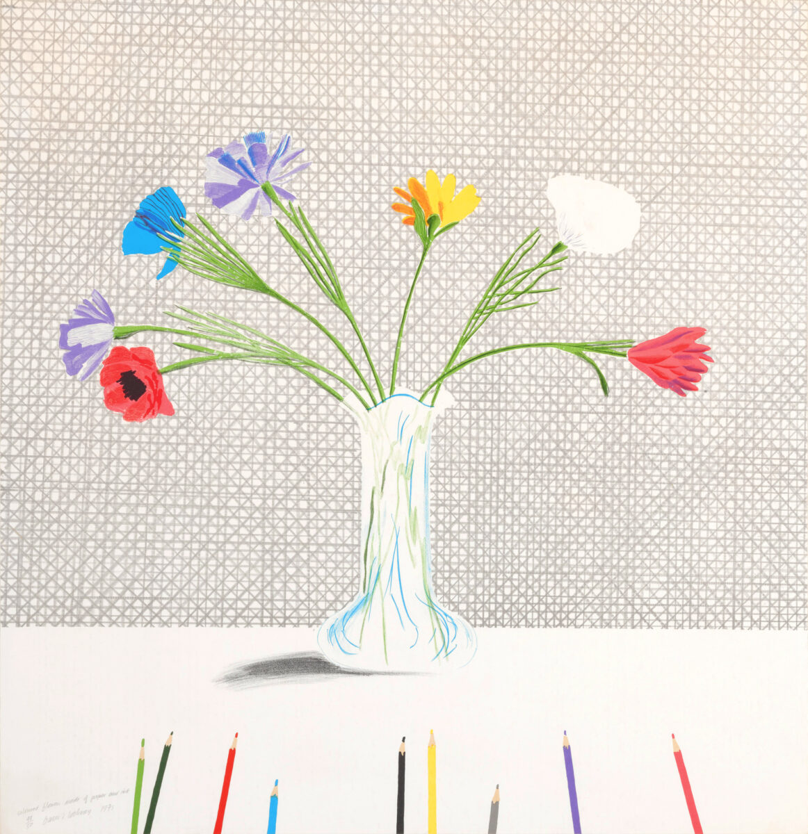 David Hockney Coloured Flowers Made of Paper and Ink original lithograph for sale