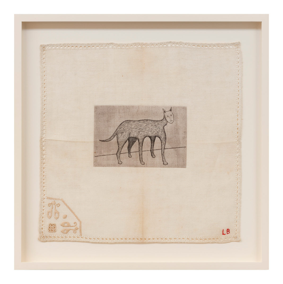 Louise Bourgeois Self Portrait original drypoint and engraving on fabric signed with initials in red thread and numbered on reverse for sale