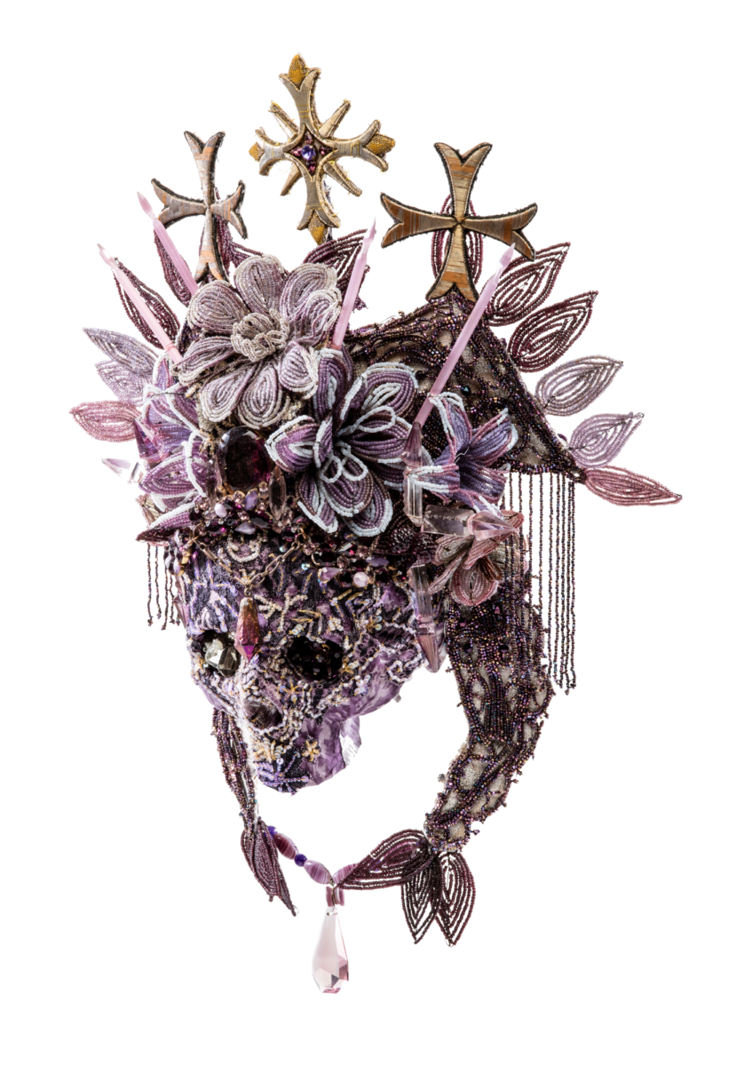 Saskia de Tollenaere  Lucrezia Borgia Resin, glass, textiles, rhinestones, semi-precious stones, metal original sculptural portrait for sale