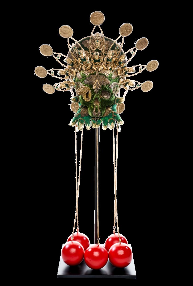 Saskia de Tollenaere Catherine de Medici Textiles, metal, porcelain, wood, resin, steel and rhinestones sculptural portrait for sale