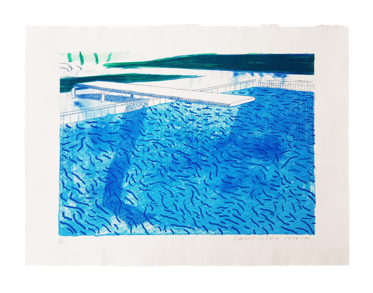 David Hockney Lithograph of Water Made of Thick and Thin Lines and a Light Blue and a Dark Blue Wash, original lithograph for sale