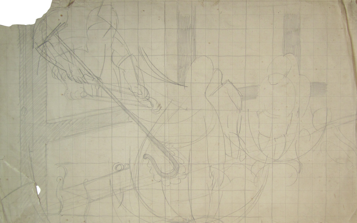 Stanley Spencer Untitled original pencil on graph paper drawing with artists studio stamp subject to availability