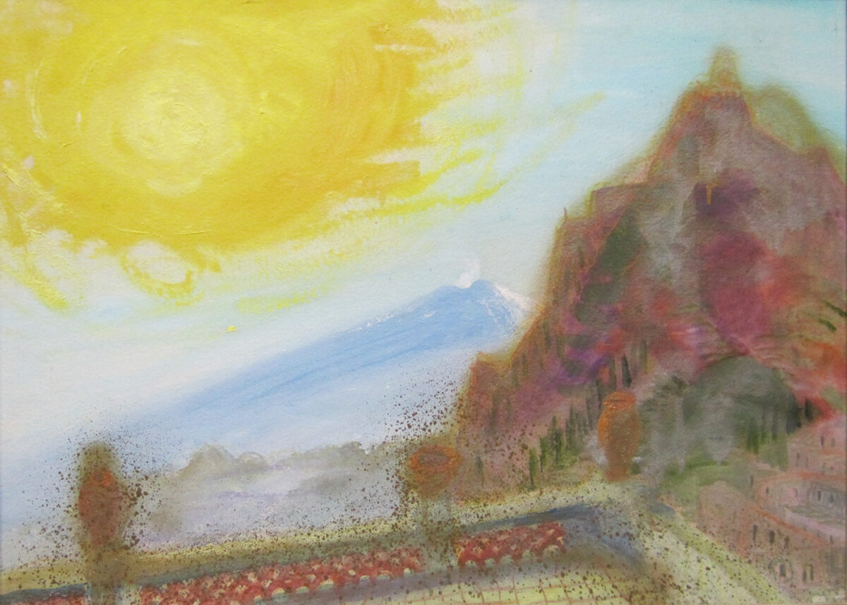 Winifred Nicholson Sunrise, Mount Taygetos, Greece oil gouache coloured chalks and watercolour on paper for sale