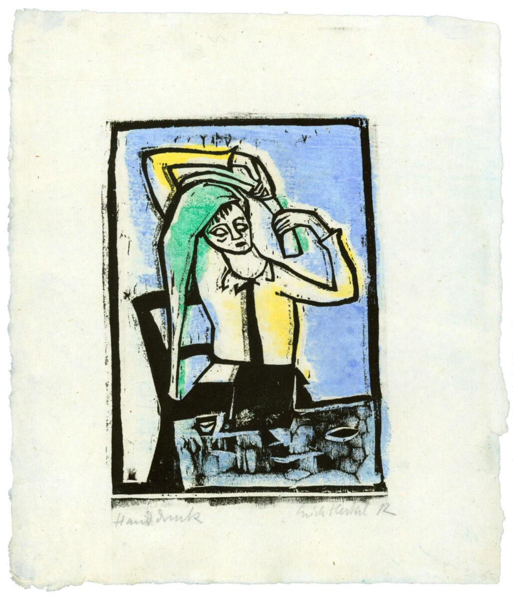 Erich Heckel Vor dem Spiegel (in front of mirror) original woodcut with hand colouring