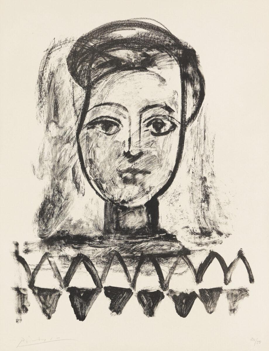 Pablo Picasso Jeune Femme au Corsage à Triangles original lithograph signed by artist