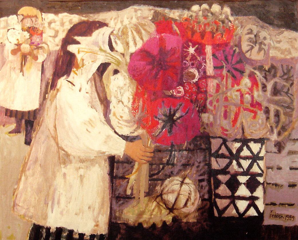 Mary Fedden Girls and Flowers original oil on board signed and dated