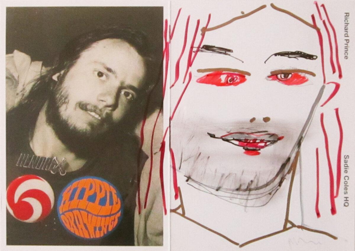 Richard Prince Self-Portrait as a Hippie original coloured marker pen on printed invitation card