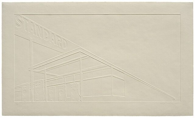 Ed Ruscha Ghost Station inkless embossed print for sale