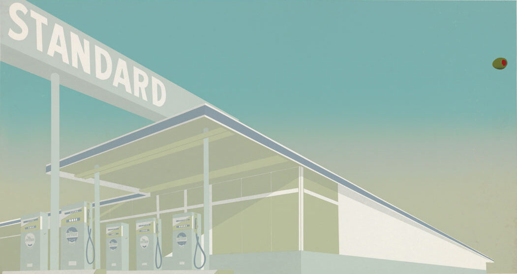 Ed Ruscha Cheese Mold Standard with Olive signed colour screenprint for sale
