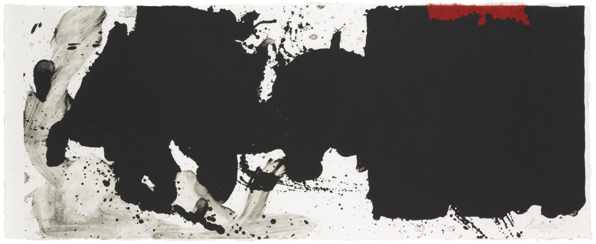 Robert Motherwell Black with No Way Out Lithograph on white TGL (Tyler Graphics Ltd.) handmade paper signed and numbered