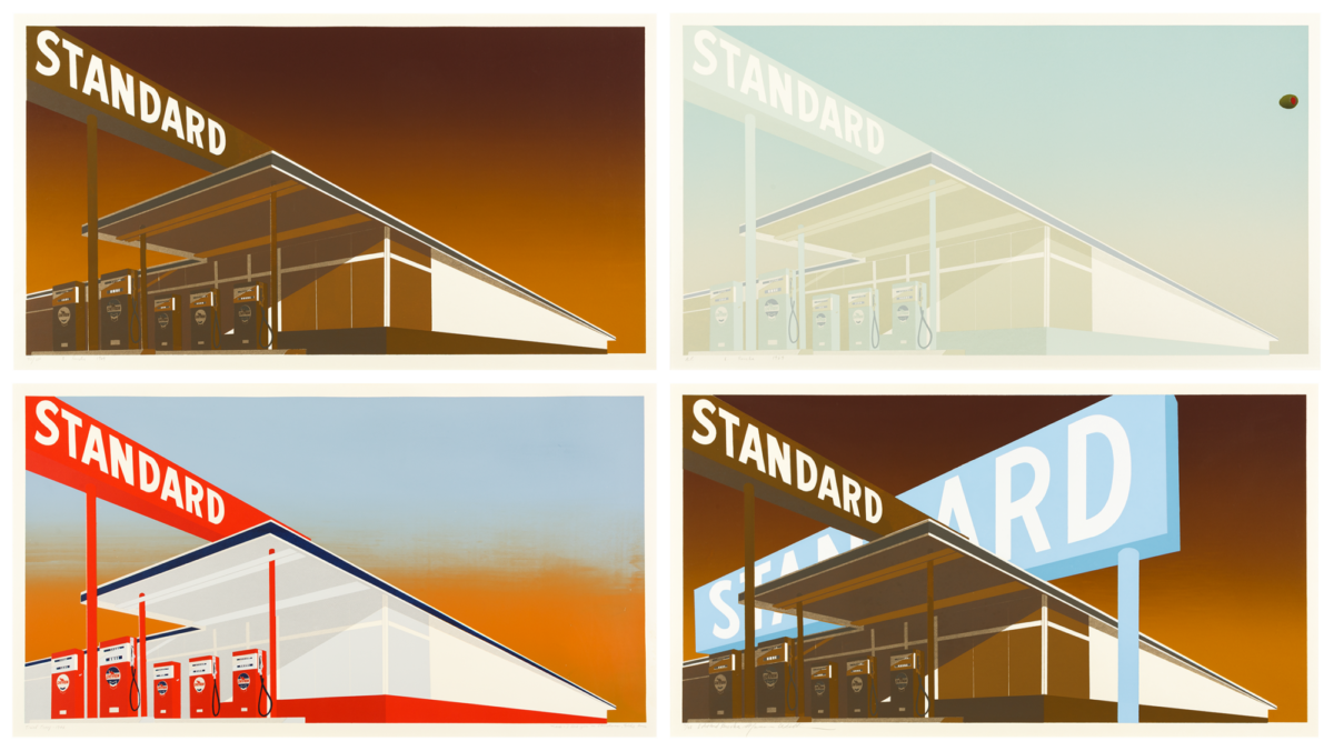 Ed Ruscha Standard Stations rare collection of four screenprints for sale