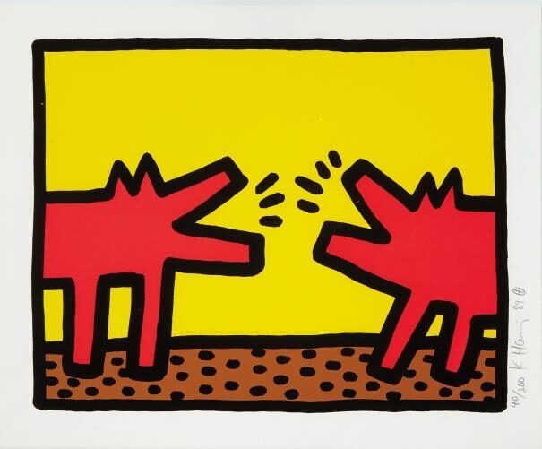 Keith Haring Barking Dogs original screenprint in colours
