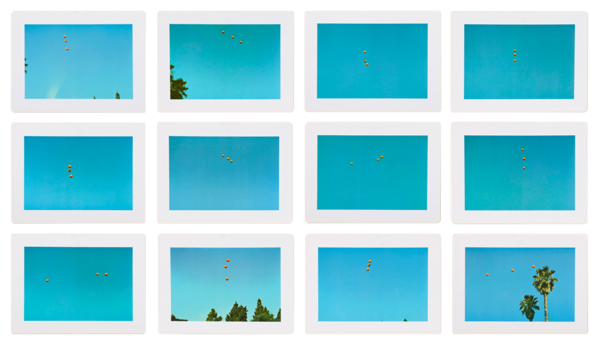 John Baldesari Throwing Three Balls in the Air to Get a Straight Line (Best of Thirty-Six Attempts) set of 12 original offset lithographic prints each signed by the artist and extremely rare for sale