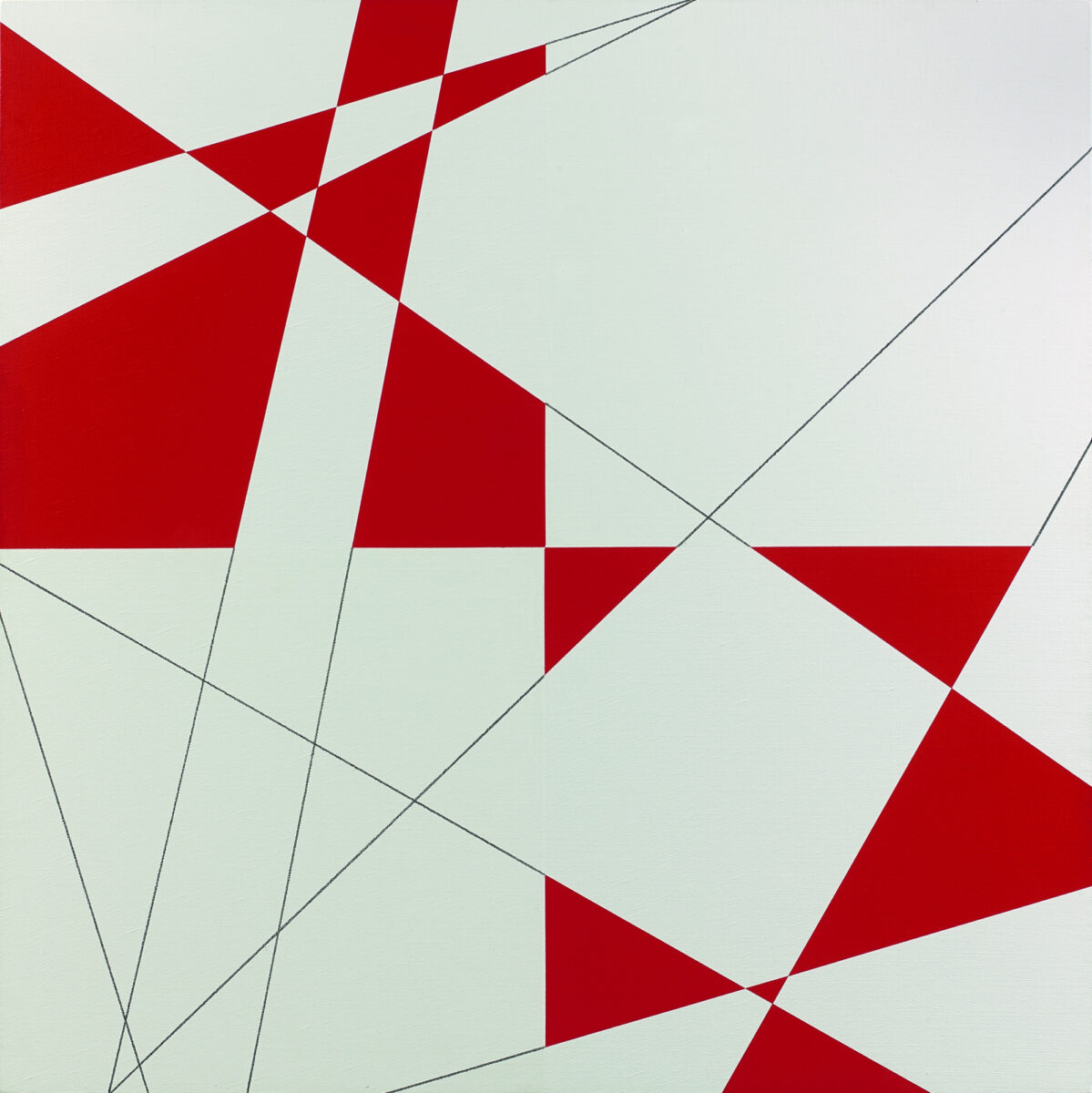 François Morellet 10 Lignes au Hasard Hybrides Rouge et Blanc original painting for sale