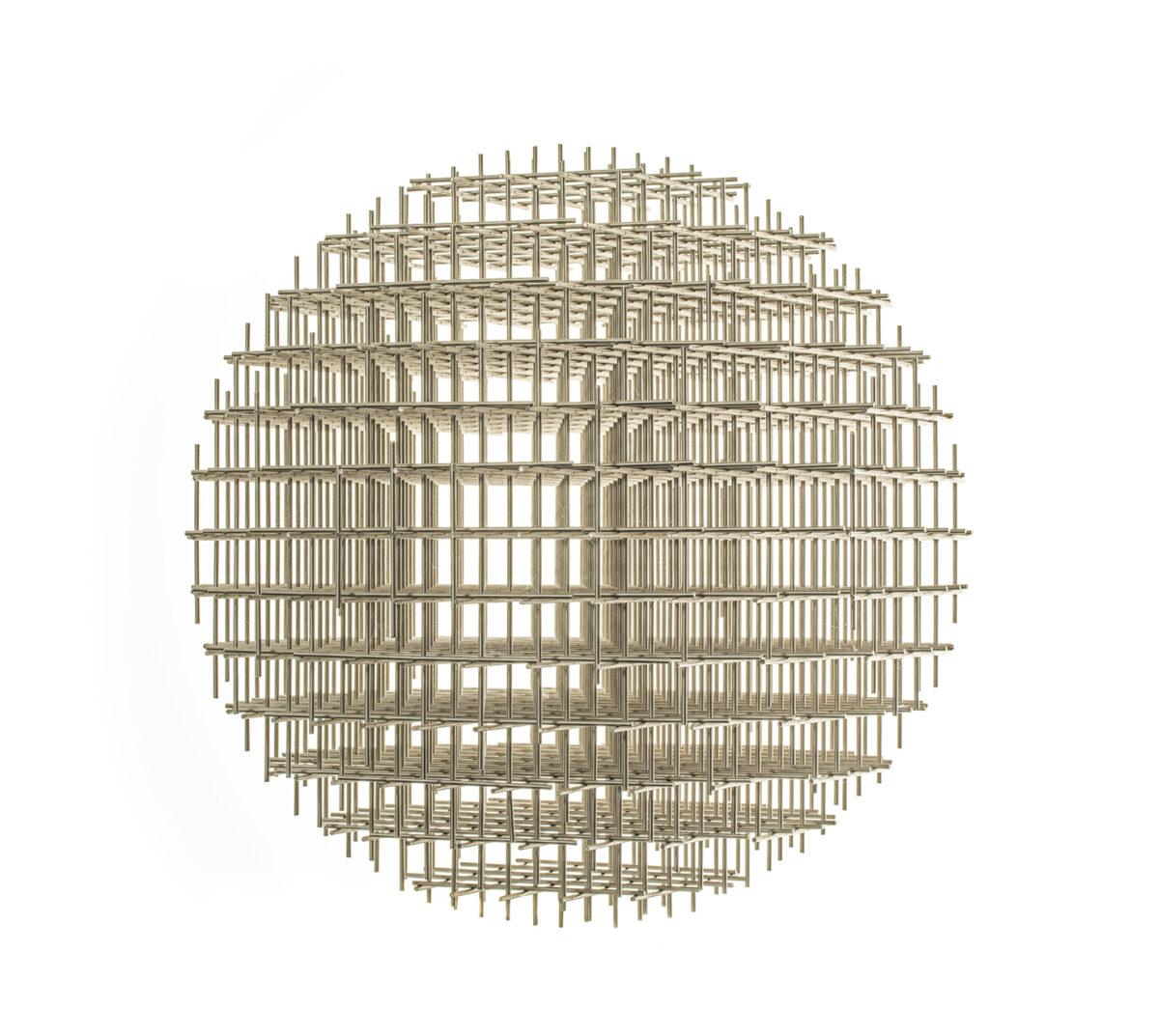 François Morellet Sphere Trame stainless steel sculpture