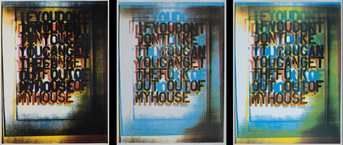 Christopher Wool My House I II III full set of signed colour screenprints for sale