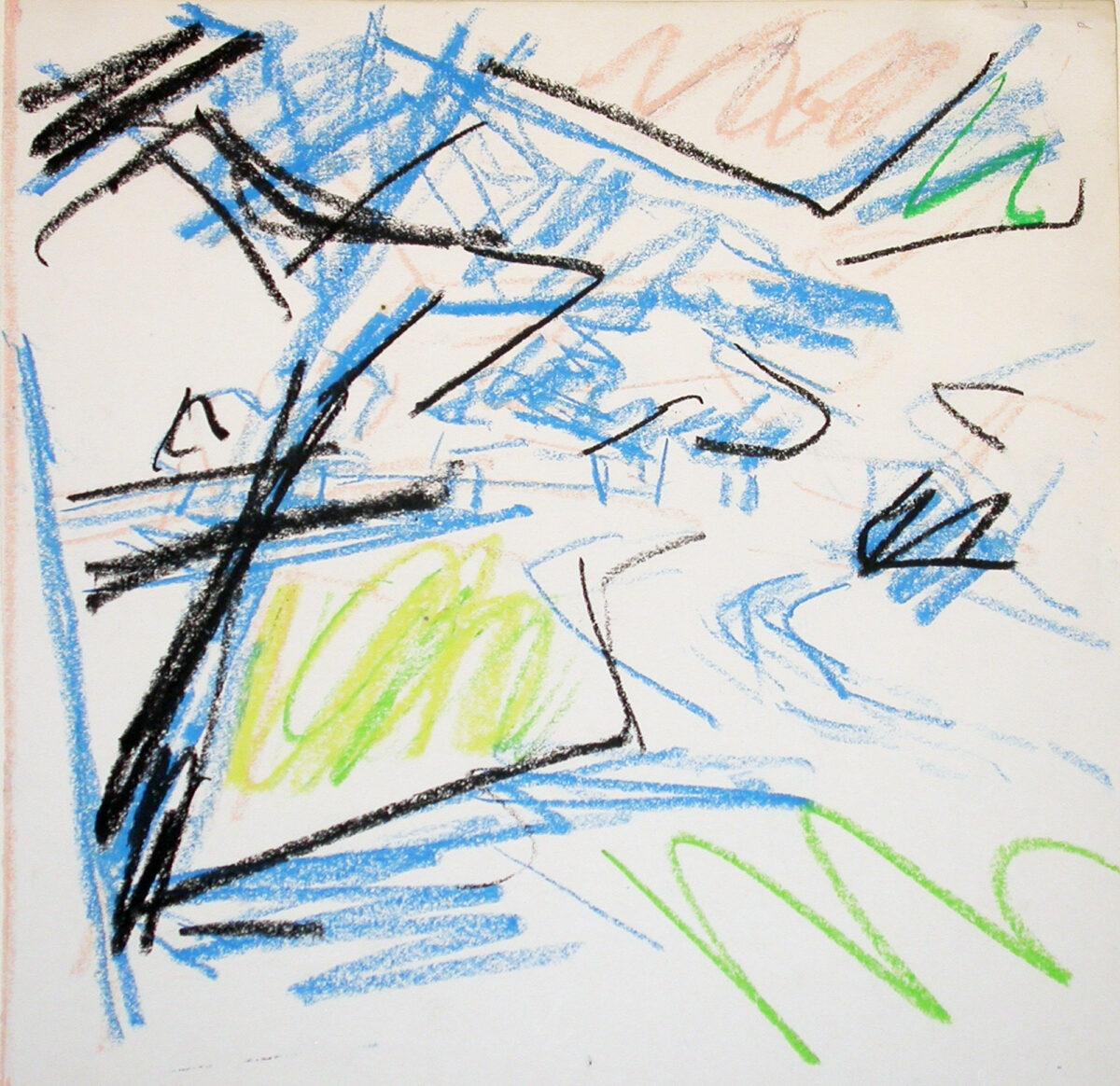 Frank Auerbach Primrose Hill oil bar on paper for sale