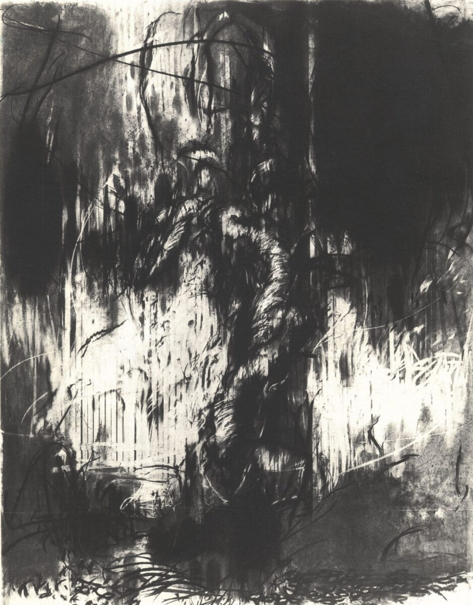 Hughie O'donoghue Olive Tree II original charcoal on paper signed and dated for sale