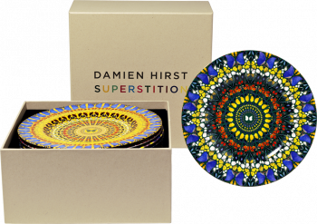 Damien Hirst Supersition set of 12 bone china plates in a presentation box sigened and numbered by artist on the reverse