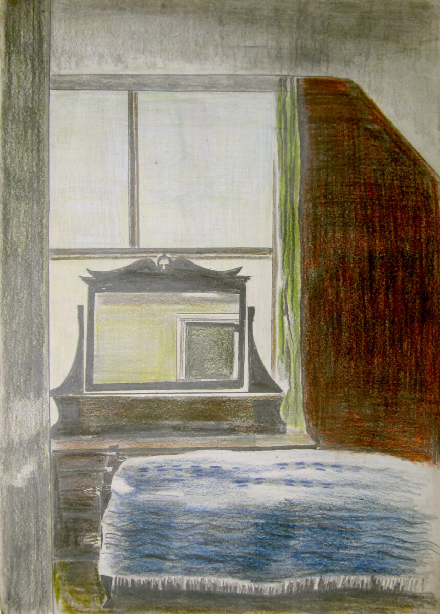 Julian Dyson Bedroom Mirror coloured pencil drawing for sale